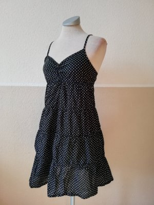 H&M Trägerkleid schwarz weiß Punkte polkadots Gr. S 36 Kleid kurz