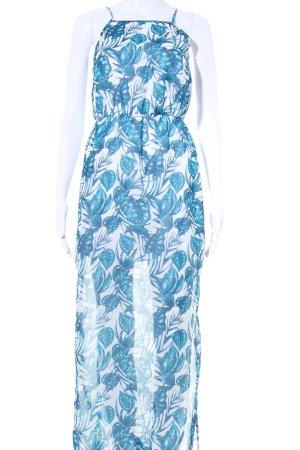 H&M Trägerkleid türkis-himmelblau florales Muster