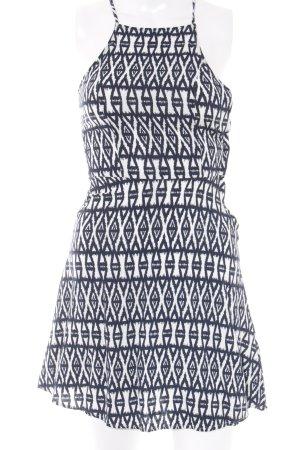 H&M Trägerkleid weiß-dunkelblau abstraktes Muster Beach-Look