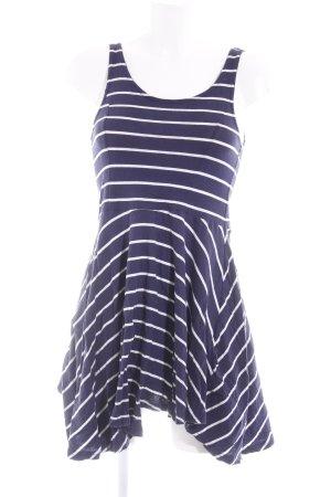 H&M Pinafore dress white-dark blue striped pattern navy look