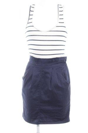 H&M Trägerkleid weiß-dunkelblau Streifenmuster Stoffeinsätze