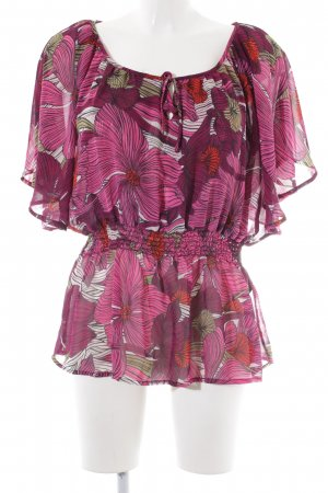 H&M Transparenz-Bluse rot-pink Blumenmuster Casual-Look