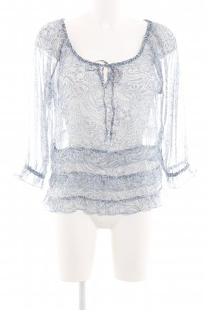 H&M Transparenz-Bluse blau-weiß Blumenmuster Party-Look