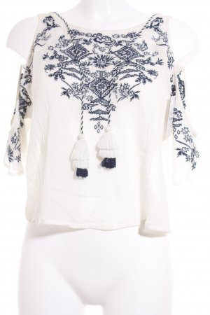 H&M Transparenz-Bluse hellbeige-dunkelblau Boho-Look