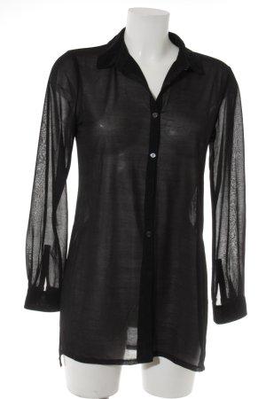H&M Transparenz-Bluse schwarz-anthrazit meliert Casual-Look