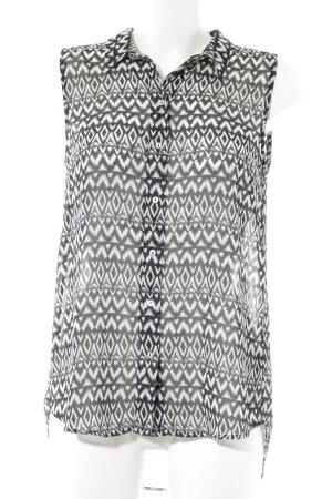 H&M Transparenz-Bluse schwarz-hellgrau Aztekenmuster Casual-Look