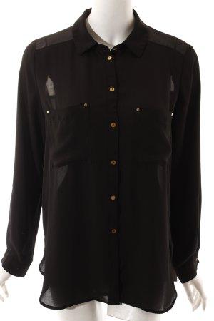 H&M Transparenz-Bluse schwarz schlichter Stil
