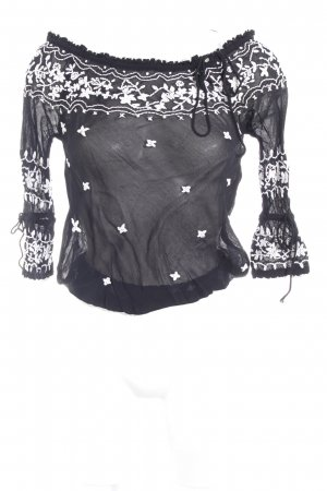 H&M Transparenz-Bluse schwarz-weiß Blumenmuster Casual-Look
