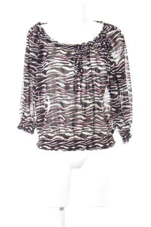 H&M Transparenz-Bluse Streifenmuster Animal-Look