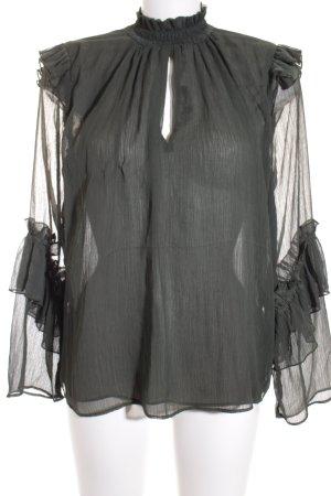 H&M Transparenz-Bluse waldgrün Romantik-Look