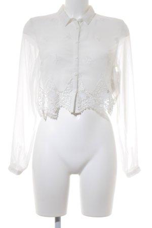 H&M Transparenz-Bluse weiß Boho-Look