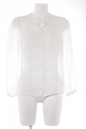 H&M Transparenz-Bluse weiß Webmuster Casual-Look