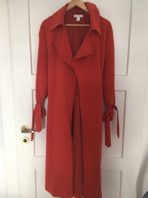 H&M Trench Coat red-bright red cotton