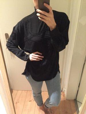 H&M Trend Bluse mit Perlen lang Oversize Schwarz Neu!
