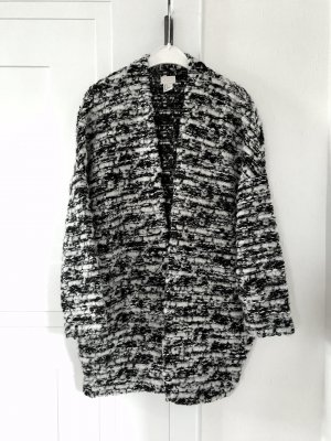 H&M Trend Boucle Woll Mantel Cardigan schwarz grau Gr. S Oversized Egg Shape