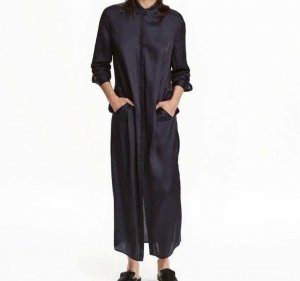 H&M Trend dunkelblaues Blusen Kleid Tunika