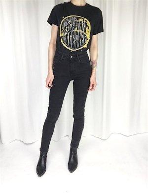H&M Trend High Waist Skinny Jeans Grau-Schwarz Clean Chic Blogger Cosy Gr. 36