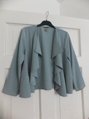 H&M Trend Jacke 38 36 M S Cardigan Mintgrün Grau Volants Rarität