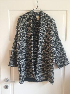 H&M Trend Jacke Mantel Coat Jacket Schwarz Weiß Cardigan Poncho WIE NEU
