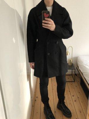 H&M Trend Jacke Wolle Mantel Coat Trench schwarz Schultern Taille