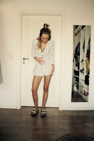 H&M Trend Jumpsuit Overall Blau Weiß gestreift 34 XS Neu Blogger