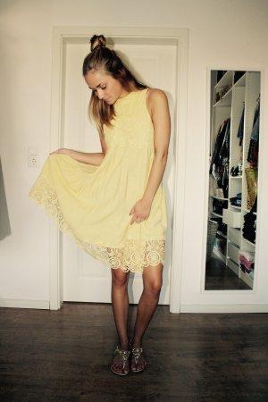 H&M Trend Kleid Gelb Strick Spitze 34 XS Neu Blogger