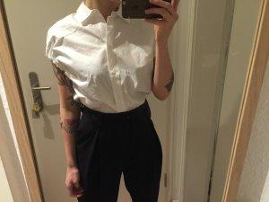 H&M Trend Kurzarm Hemd Bluse weiß geraffte Ärmel