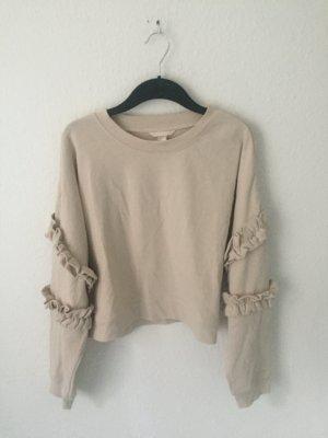 H&M Trend kurzes Sweatshirt mit Volants Nude