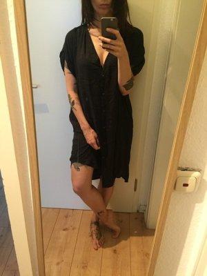 H&M Trend Lange Tunika Kleid schwarz mit Knopfleiste neu!!