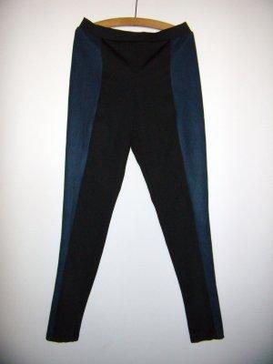 H&M Trend Leggings Wildlederimitat blau schwarz