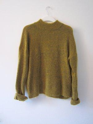 H&M Trend Mohair Pullover Strick Senf gelb schwarz oversize