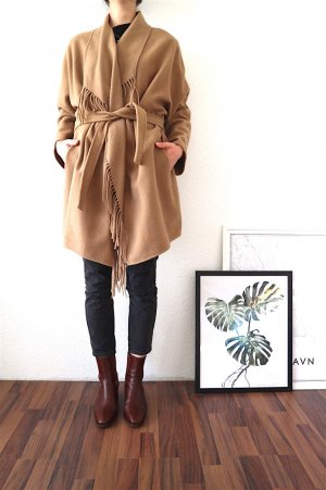 H&M Oversized Coat camel-beige mixture fibre
