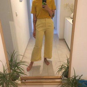 H&M Trend pastellgelbe High Waist Hose Wideleg