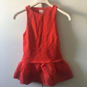 H&M Trend Pemplum Top Schößchen Rot Tüll 34