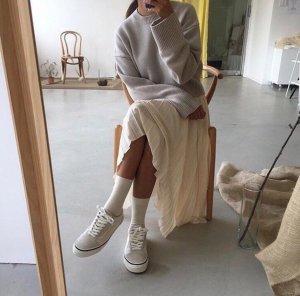 H&M Trend plissierter High Waist Rock creme beige