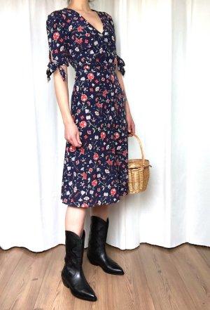 H&M Trend Premium 100% Seide Midi-Kleid French Cosy Blogger Blumen