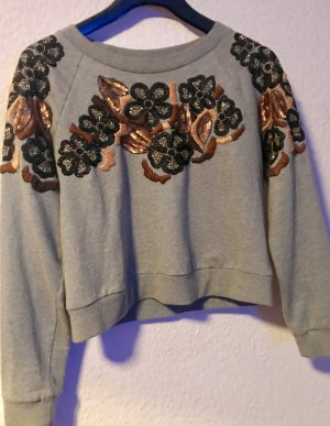 H&M Trend Pullover grau bestickt im floralen Muster