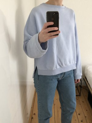 H&M Trend Pullover Sweatshirt oversize cropped Crop Top hellblau