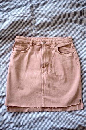 H&M Trend Rosé-farbener Minirock aus Jeansstoff