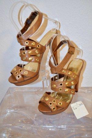 H&M Trend Sandaletten Plateau Cognac Nieten Gold Gr. 39