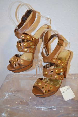 H&M Trend Sandaletten Plateau Cognac Nieten Gold Gr. 39 Neu