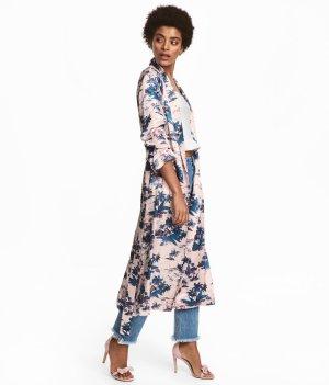 H&M Trend Satin Kimono Kleid Mantel mit sommerlichen Muster neu!