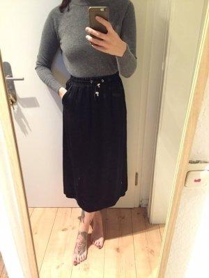 H&M Trend schwarzer Satin High Waist Rock Skirt Neu!