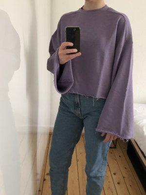 H&M Trend Sweatshirt Pullover Crop Top cropped oversize weite Ärmel lila Flieder Blogger
