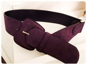 H&M Cinturón de cuero violeta oscuro