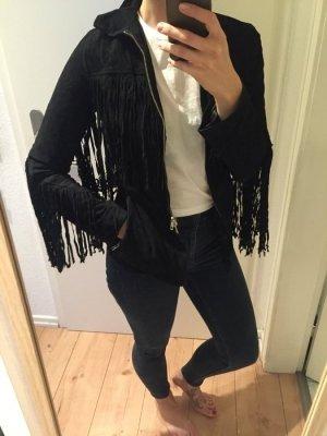 H&M Trend Wildleder Jacke mit Fransen Suede schwaz Western Style neu!!
