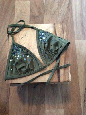 H&M Triangel Bikini Oberteil, Khaki mit Pailetten