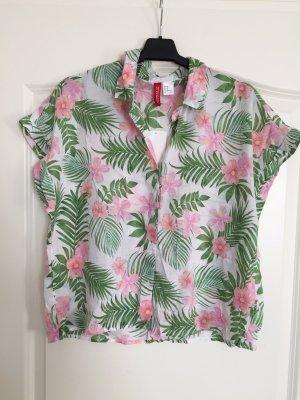 H&M Tropical Shirt mit Palmenblättern und Blumen