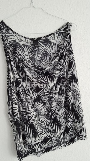 h&m tropical top shirt 34 36 38 schwarz weiss palmen print