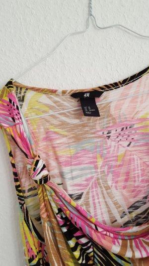 h&m tropical top shirt 34 36 bunt palmen print